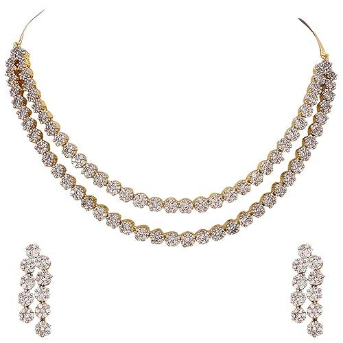 d05fab123 Ratnavali Jewels American Diamond CZ Gold Plated Designer Jewellery Set  Necklace Set with Chain