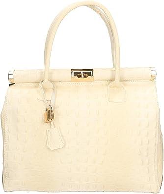 Aren - Handbag Borsa a Mano da Donna in Vera Pelle Made in Italy - 32x26x14 Cm