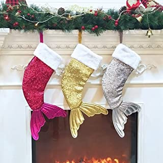 Gift Bags Beauty Fishtail Christmas Decorations Christmas Supplies Gift Bags Christmas Socks,Durability (Color : Three-Piece Suit, Size : 50 * 17 * 2cm)