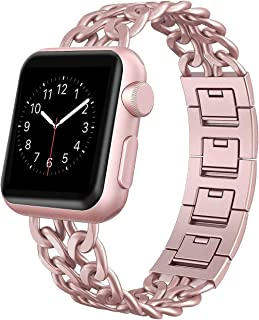 AmzAokay Replacement bands Compatible for Apple Watch 38mm 42mm Stainless Steel Metal Cowboy Chain Strap Wrist Band for Apple Watch 40mm 44mm Series 4 3 2 1 Sport and Edition (Rose Gold, 38mm/40mm)