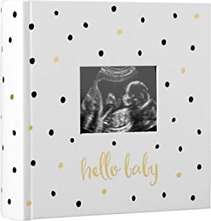 Pearhead 'Hello Baby' Baby Photo Album, Keepsake Gifts for Baby and New Parents, White/Black and Gold Polka Dot