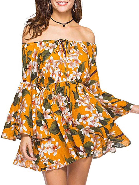 D Jill Women's Summer Off Shoulder Floral Print Long Sleeve Boho Ruffle Mini Dress Beach