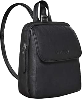 """STILORD Valentina"""" Damenrucksack Klein Leder Daypack Rucksack für Frauen Vintage Rucksackhandtasche für City Ausgehen Shopping Damen Tagesrucksack Echtleder, Farbe:schwarz"""