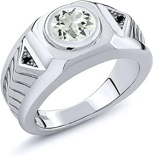 1.53 Ct Round Green Prasiolite Black Diamond 925 Sterling Silver Men's Ring