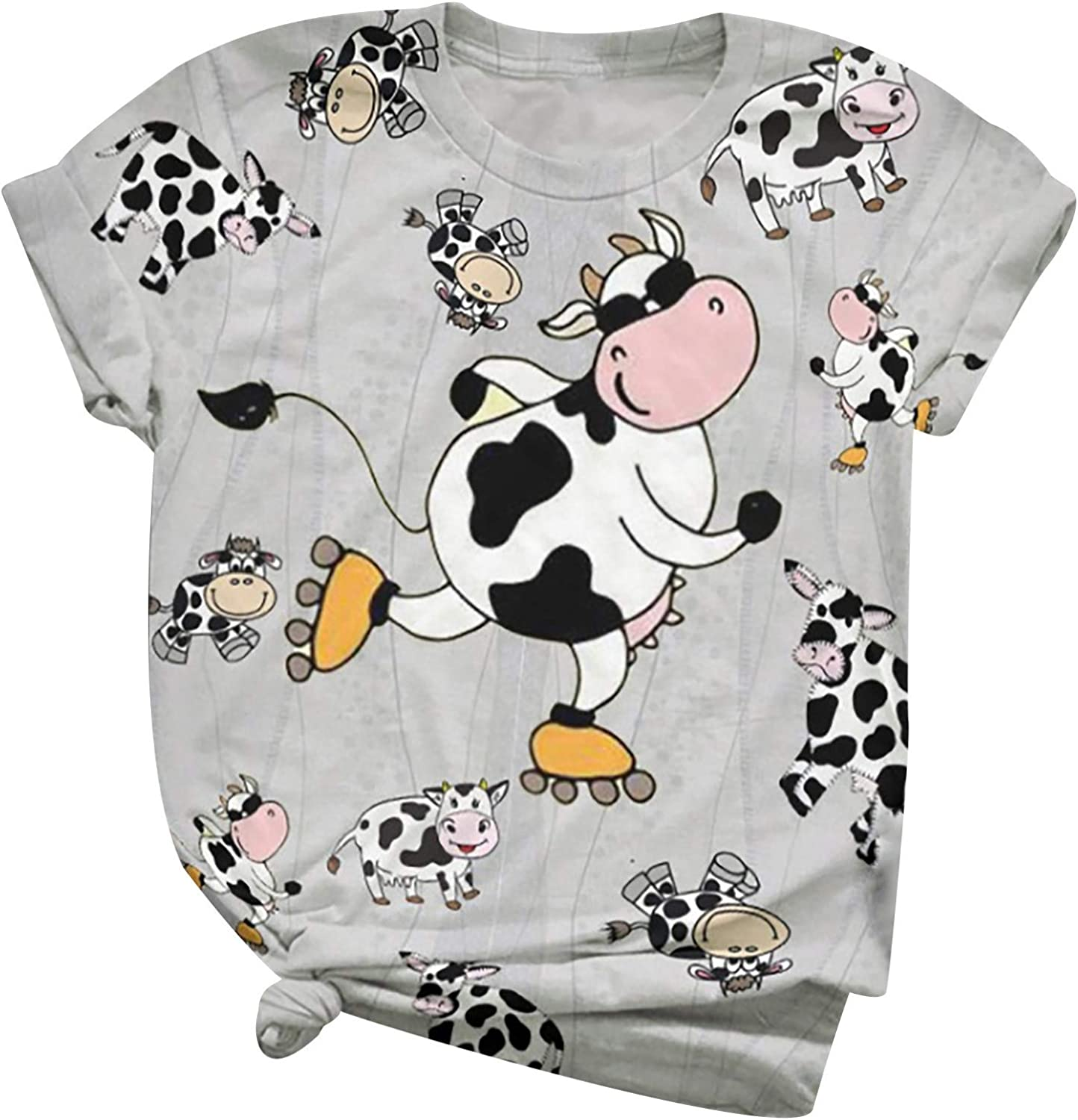 FORUU Plus Size 3D Animal Shirts for Women,2021 Summer Fashion Short Sleeve Bow Print O-Neck Tops Cute Graphic Tee Loose T-Shirt for Girl Basic Tee Sexy Women Shirts Casual Summer Blouses