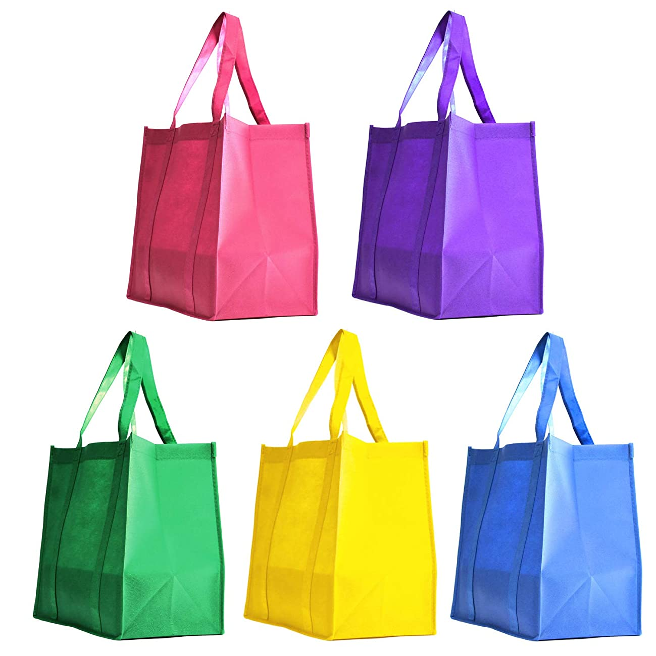 [ 5 Pack ] Assorted Color Party Favor Gift Bags Non-Woven Polypropelyne Grocery Shopping Promotional Tote Bags for Birthday, Wedding Giveaway, Business Promotional Goodie Bags (Summer Breeze, 5 Pack)