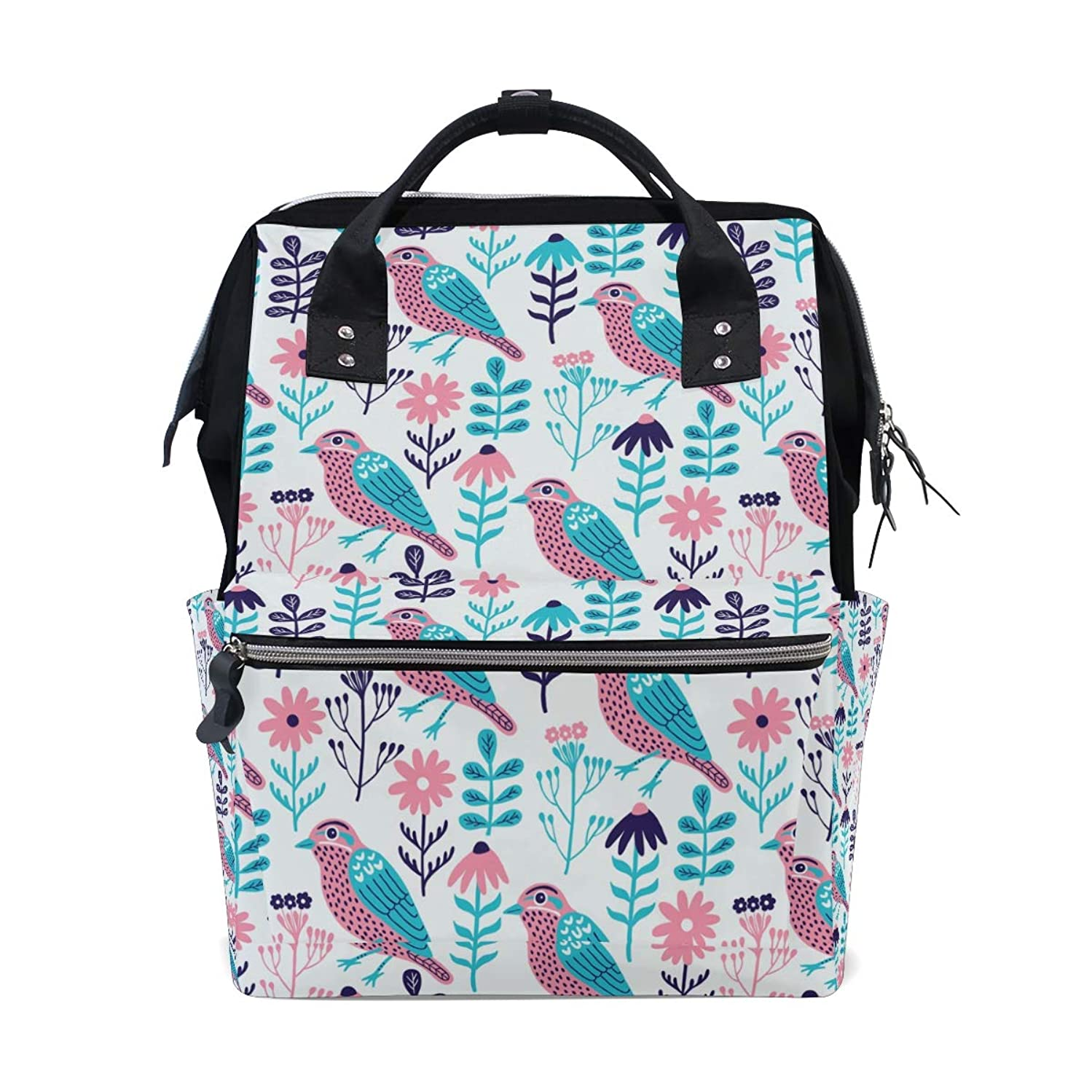 Birds Flowers Leaves School Backpack Large Capacity Mummy Bags Laptop Handbag Casual Travel Rucksack Satchel For Women Men Adult Teen Children