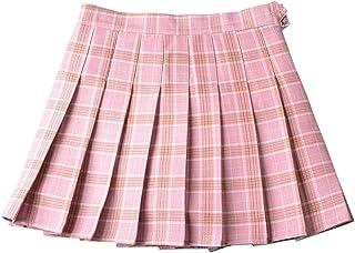 Betusline Women's Plaid Pleated Skirt