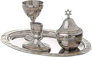 Highly Polished Non-Tarnishing Metal Havdalah Set with Mother of Pearl Design