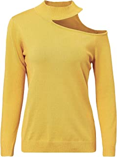 Missy Chilli Women's Halter Hollow out Knit Pullover Asymmetrical Slim Sweater