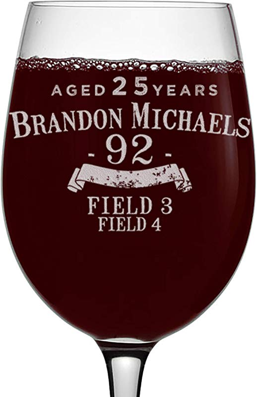 Personalized Etched 16oz Stemmed Wine Glass For Birthday Gifts