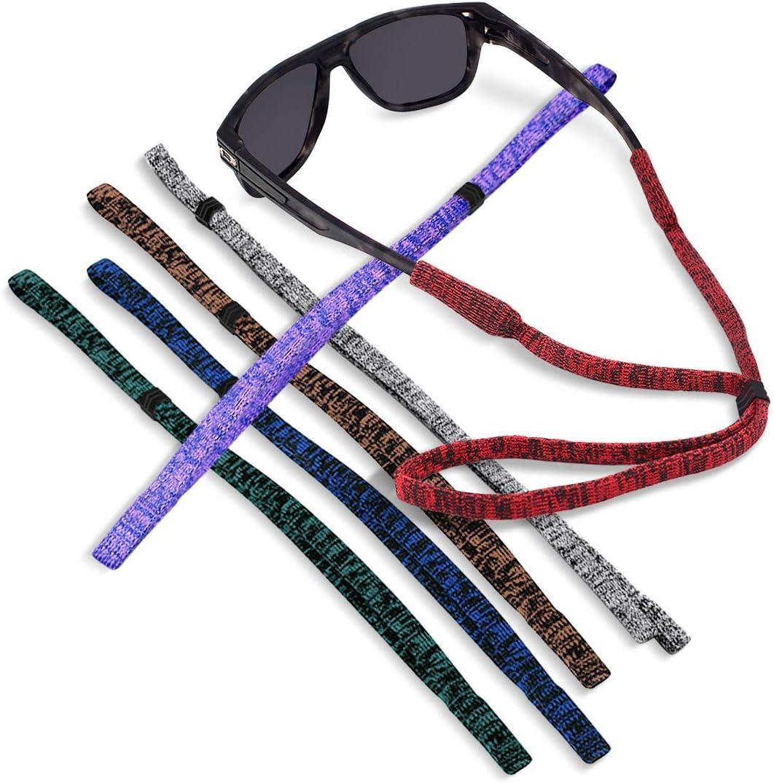 Kalevel 6pcs Sports Glasses Holder Strap String Sunglasses Lanyard Cord Adjustable Buckle for Women Men Kids (Mixed Color Set)