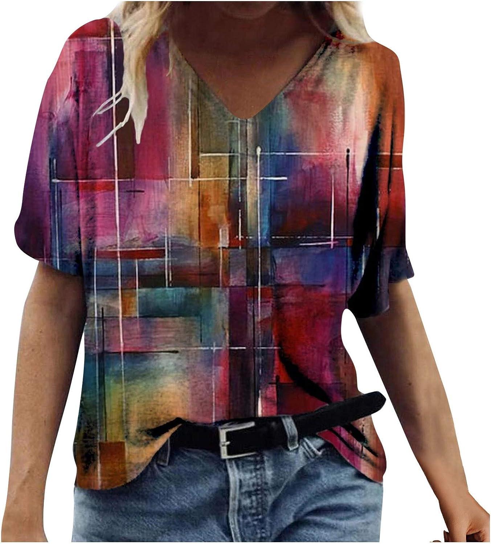Women's Summer T-Shirt Tie Dye Printed O-Neck Short Sleeve Tunics Crew-Neck Basic Casual Tee Tops