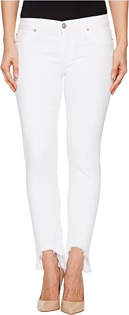 Tally Mid-Rise Skinny Crop w/ Chewed Hem in Destroyed Optical White