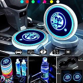 Heycase LED Auto Getränkehalter Lichter, glänzende Wasser Tassenmatte, wasserdichter Getränke Untersetzer, integriertes Licht, 7 Farben wechselnde USB Ladematte (passend für Al Fa)