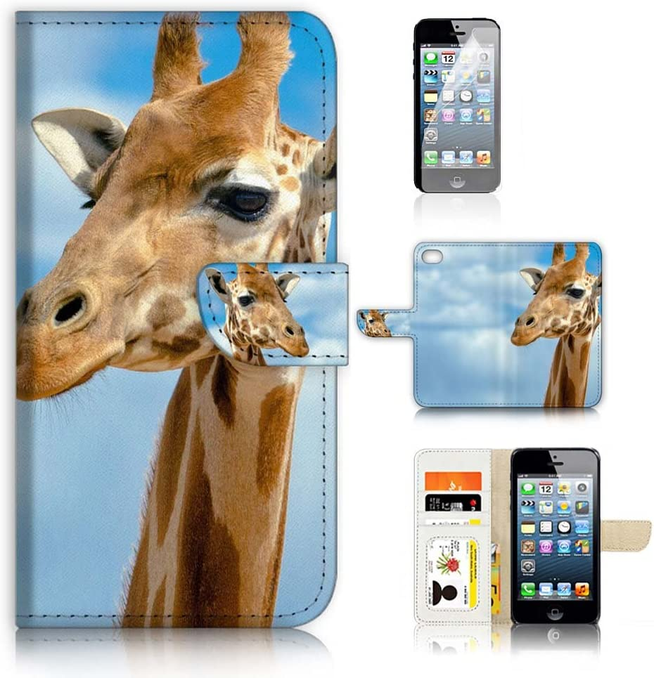 ( For iPhone 6 / iPhone 6S ) Flip Wallet Case Cover & Screen Protector Bundle - A21127 Giraffe Face