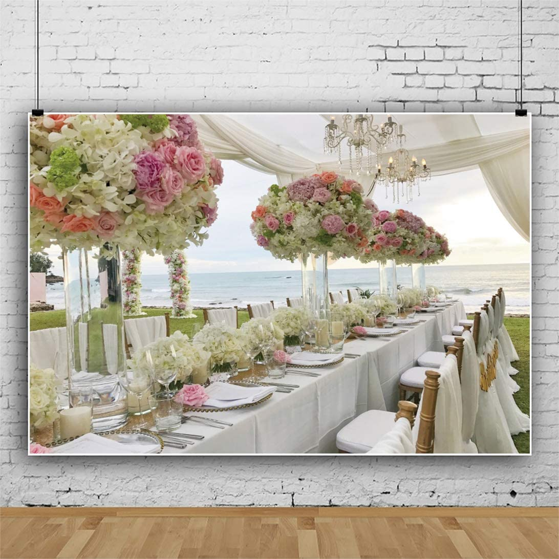 YongFoto 8x6ft Wedding Photography Backdrop Sea View Table Flowers Chair Grass Candle Background Wedding Party Ceremony Stage Scene Lovers Bride Bridegroom Portrait Photo Studio Props