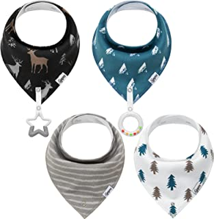 Baby Bandana Drool Bibs for Boys & Girls (4-Pack) and Teething Toys (2-Pack), Soft and Absorbent Baby Teething Bibs