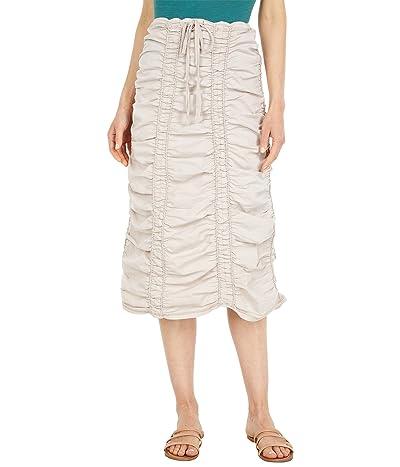 XCVI Stretch Poplin Double Shirred Panel Skirt
