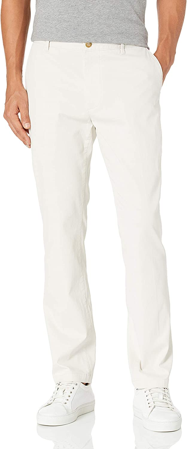 Reyn Spooner Men's Cotton Tailored Fit Flat Front Chino Pant, Chalk, 34