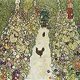 Artland Alte Meister Wandbild Gustav Klimt Gartenweg mit Hühnern Kunst Leinwandbild Art Nouveau & Jugendstil Gemälde Kunstdruck auf Leinwand 40 x 40 cm B5MJ