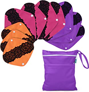 Teamoy 10pcs Reusable Sanitary Pads with Lace Design and Wet Bag, Washable Cloth Menstrual Pads Panty Liners(3pcs×7.9