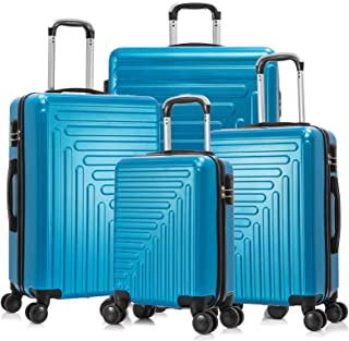 4 Piece ABS Luggage Set Hardside Travel Suitcase With Spinner Wheels Trolley Case ABS Hard Shell Durable (Blue)