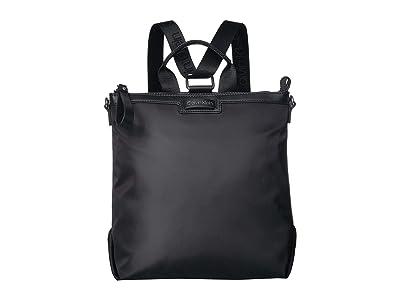 Calvin Klein Lane Nylon Backpack (Black/Silver) Backpack Bags