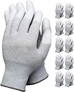 VIPER 10 Pairs Anti Static Gloves Top Fit Fingertip 13G Grey Carbon Fibers PU Coated ESD Safety Gloves (Medium, Grey)