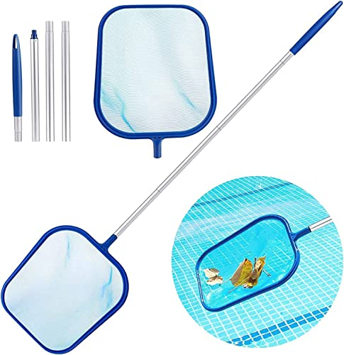 2021 Swimming Pool Skimmer Net with Pole Leaf Catcher Cleaner Skim Net Professional Pool Net Skimmer, Swimming Pool wholesale Cleaner Supplies Skimmer Leaf Screen with 4 Sections Pole, lowest Clean Spas, Ponds & Pool sale
