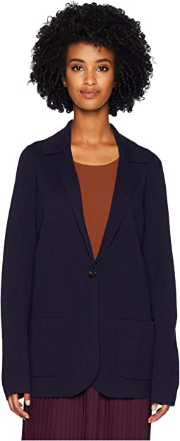 Washable Wool Crepe Notch Collar Cardigan