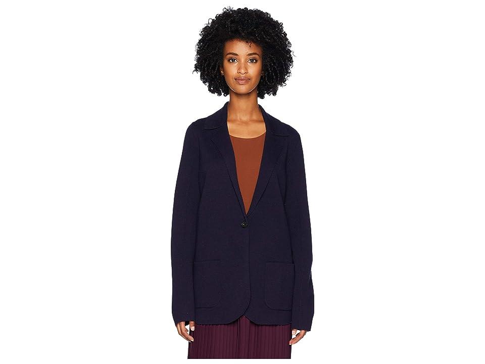 Eileen Fisher Washable Wool Crepe Notch Collar Cardigan (Midnight) Women