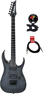 Ibanez RGAIX6FMWFF RGA Iron Label 6 Strings Solidbody Electric Guitar Package with Clip on Guitar Tuner and Instrument Cable (RGAIX6FM, Transparent Gray Flat) (White Frost Flat)