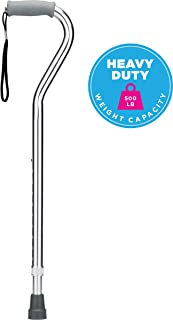 NOVA Heavy Duty Walking Cane with Offset Handle, 500 lb. Weight Capacity, Lightweight Adjustable Walking Stick with Carrying Strap, Silver