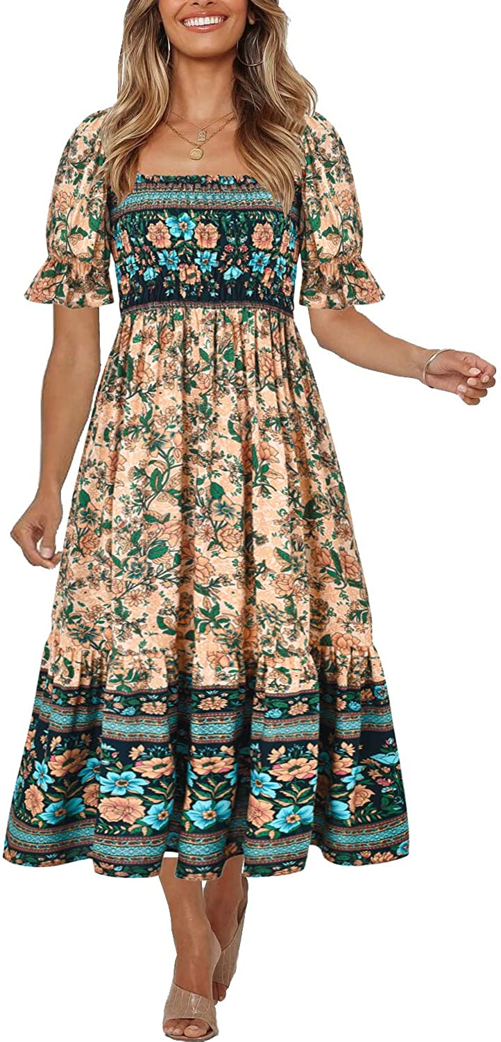 Women's Summer Bohemian Square Neck Floral Print Award Vintage Direct stock discount Ruffle