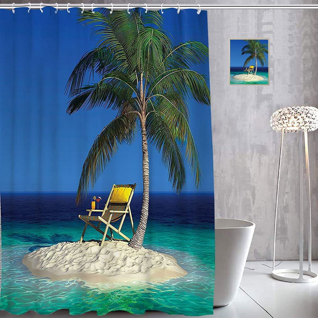 Seaside Decor Fabric Shower Low price Curtains Chair on a Palm Excellence Tree Under
