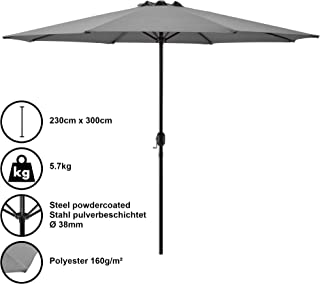 casa.pro Sombrilla Ø 300cm gris con manivela parasol para