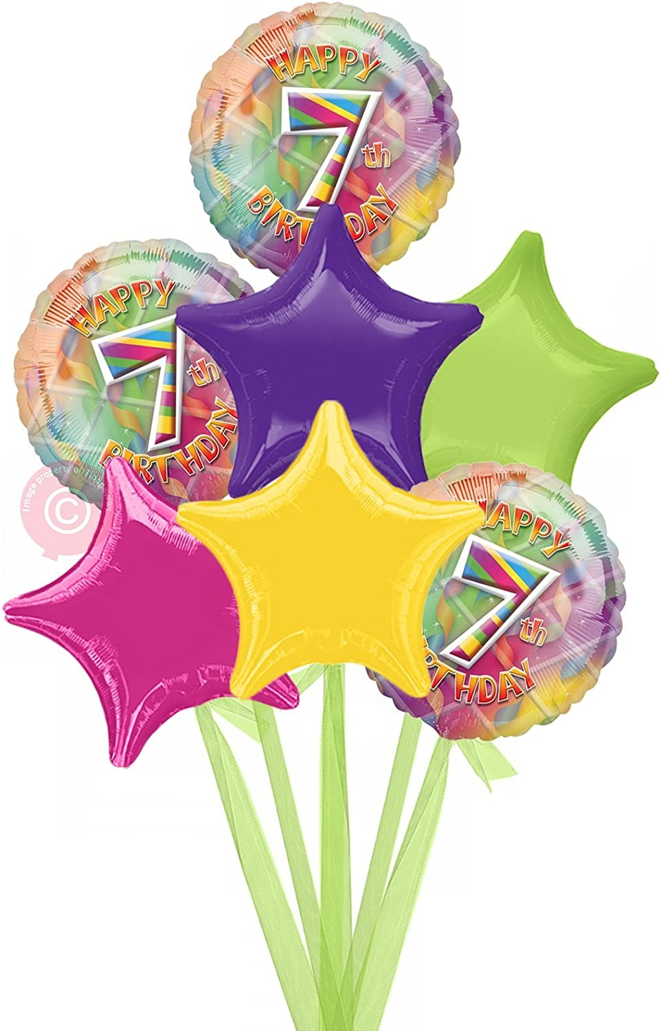 No 7 Happy 7th Birthday Girl  Inflated Birthday Helium Balloon Delivered in a Box  Bigger Bouquet  7 Balloons  Bloonaway