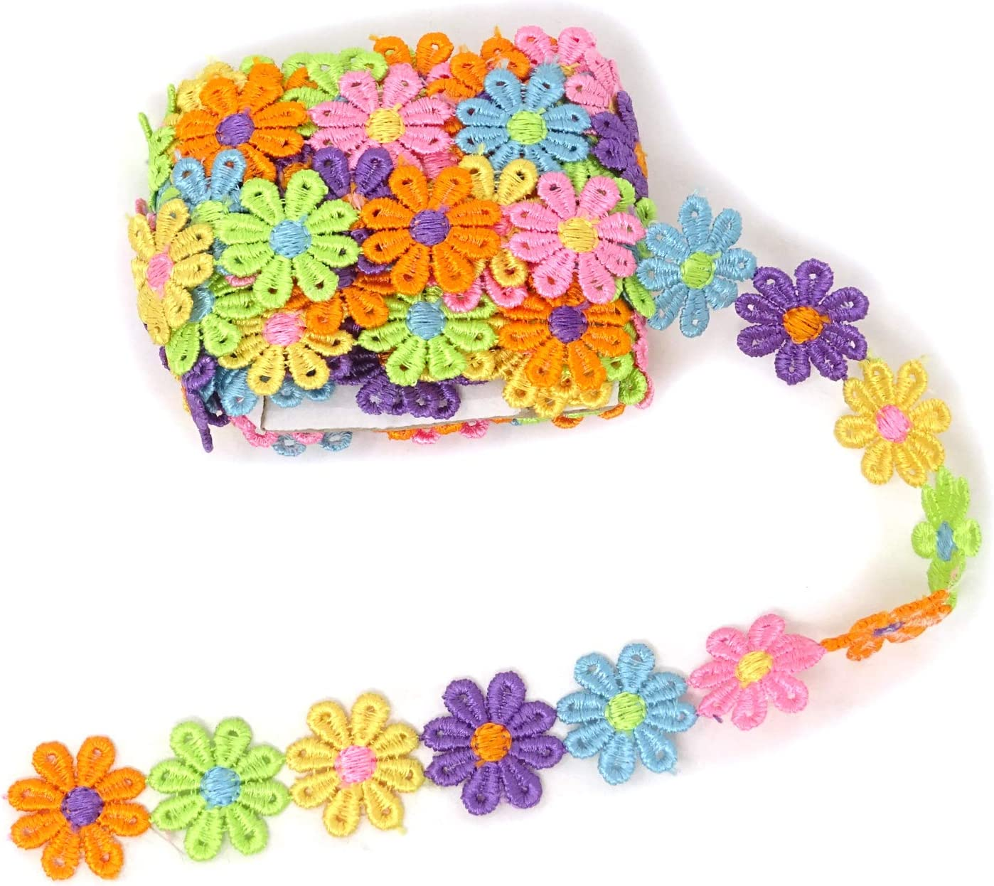 Honbay 5 Yards Decorating Lace Embroidered Trim Ribbons for Sewing or Craft Decoration (Flower A)