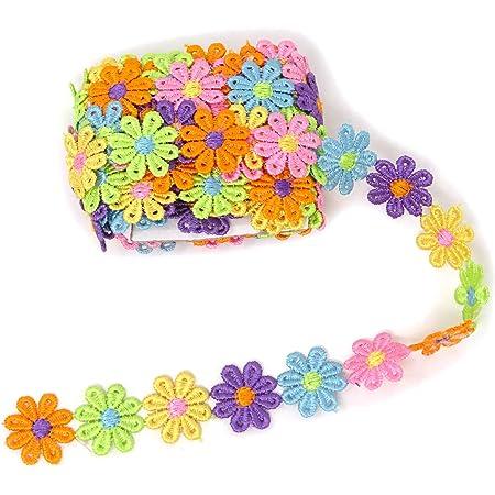 Tegg Lace Ribbon 5 Yards 25mm Daisy Sun Flower Trims DIY Ribbon Lace for Applique Headband Sewing DIY Craft