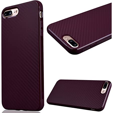 GrandEver Coque iPhone 7 Plus/iPhone 8 Plus Silicone Bordeaux Carbone Flexible Doux TPU Couleur Unie Ultra Fine Mince Housse de Protection Case Etui ...