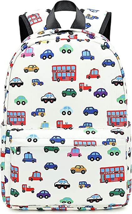 Kids Backpack for Boys Toddler Backpack Preschool Bookbag Nursery Daycare Elementary (White - car)
