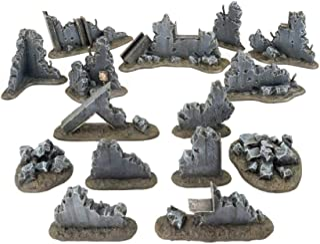 War World Gaming War Torn City Large Rubble Kit – 28mm Sci-Fi Wargaming Terrain Model Scenery Ruined Rubble Zombie Post-Ap...