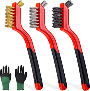 """3pcs Wire Brush Set 7"""" Metal Cleaning Brushes Stainless Steel/Brass/Nylon Bristles with Deep Cleaning for Rust Dust Paint..."""