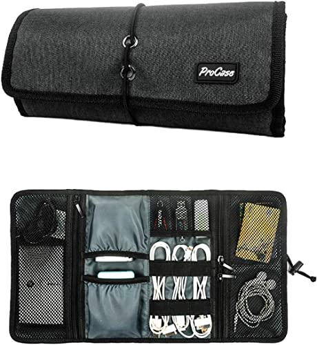 ProCase Travel Gear Organizer Electronics Accessories Bag, Small Gadget Carry Case Storage Bag Pouch for Charger USB ...