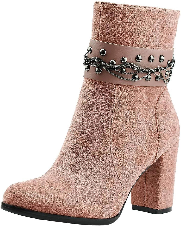 SaraIris Women High Block Heel Rivets Zipper Dress Suede Ankle Booties