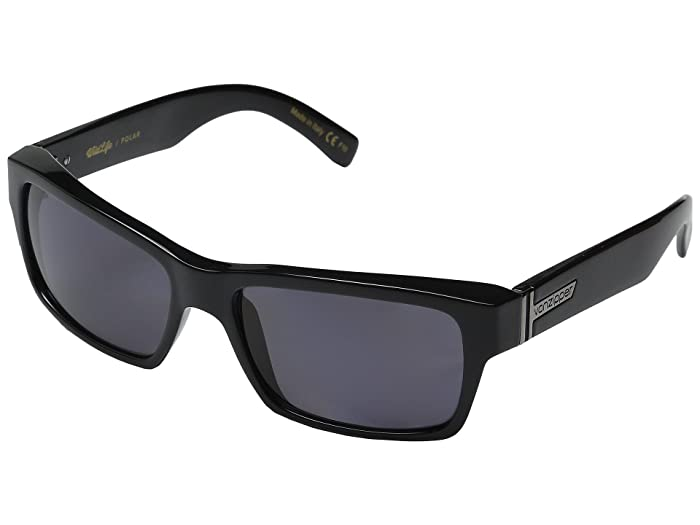 VonZipper Fulton Polarized (Black Gloss/Vintage Grey Wildlife Polarized Lens) Sport Sunglasses