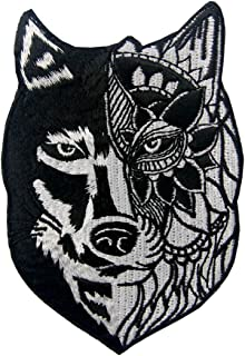 ZEGINs Sunflower Tribal Wolf Applique Embroidered Badge Iron On Sew On Patch