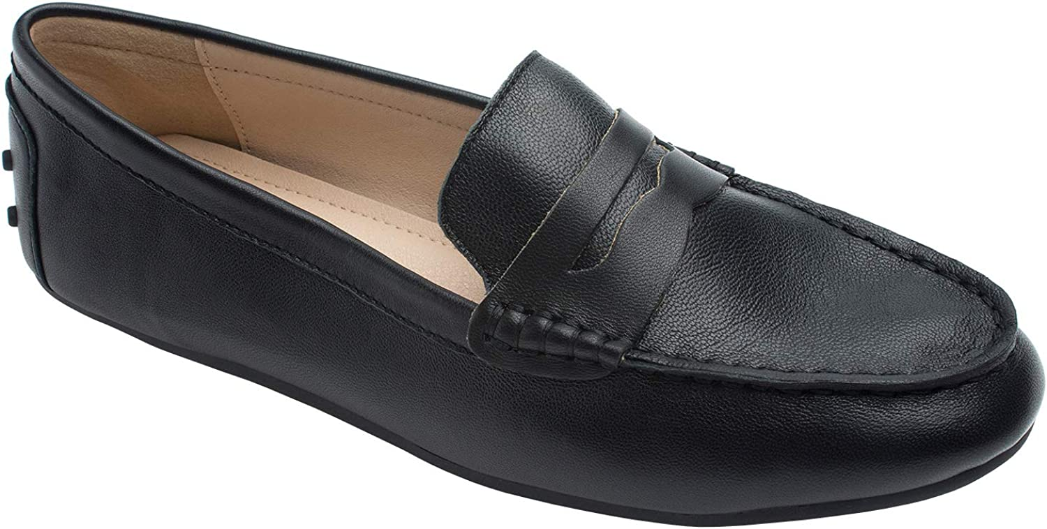 AnnaKastle Womens Classic Leather Penny Loafer Moccasin Driving shoes Black