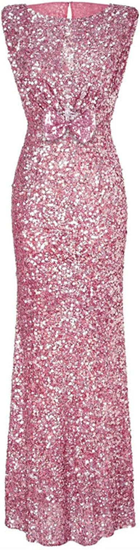 Elegant Sequin Party Maxi Dress Vintage Bow Evening Ladies Dresses Party Night Robe Femme